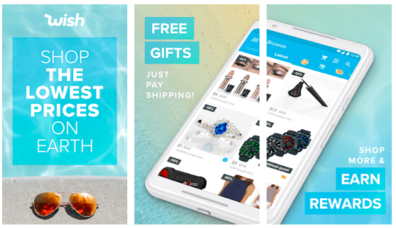 image showing free gifts on wish shopping app
