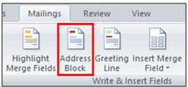 menu showing address block