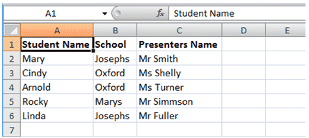 screenshot of data in excel