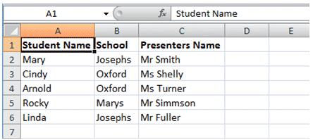 screenshot of data in excel