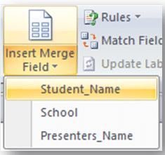 screenshot of document showing student-name as field