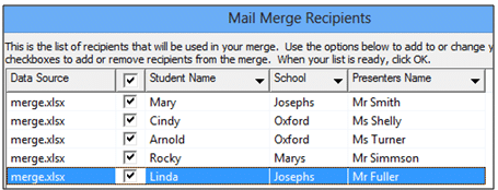 image showing list of mail-merge recipients