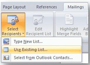 menu showing select recipients