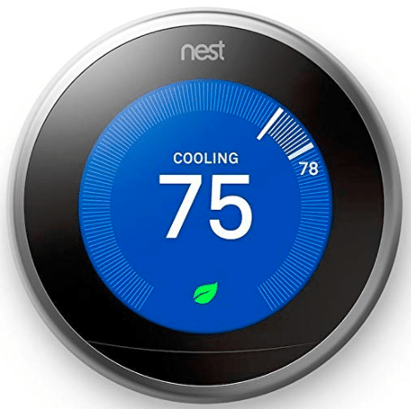 smart-thermostat with blue screen