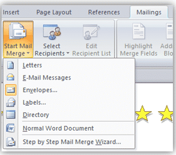 mail merge options