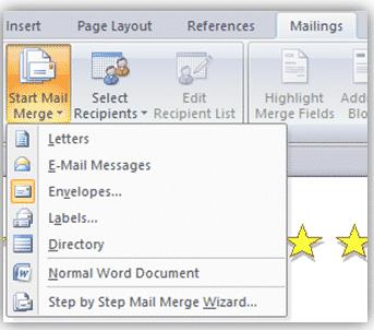 mail merge options