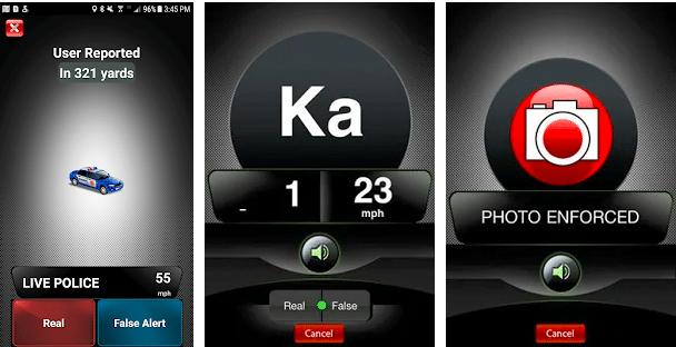 radar detector app showing Live Police