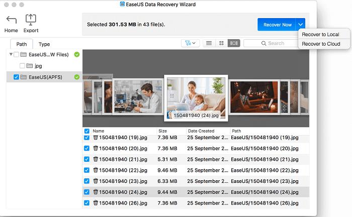 screenshot of photo data recovery