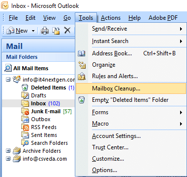 screenshot showing outlook tools