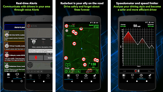 screenshot showing radar locations on roads