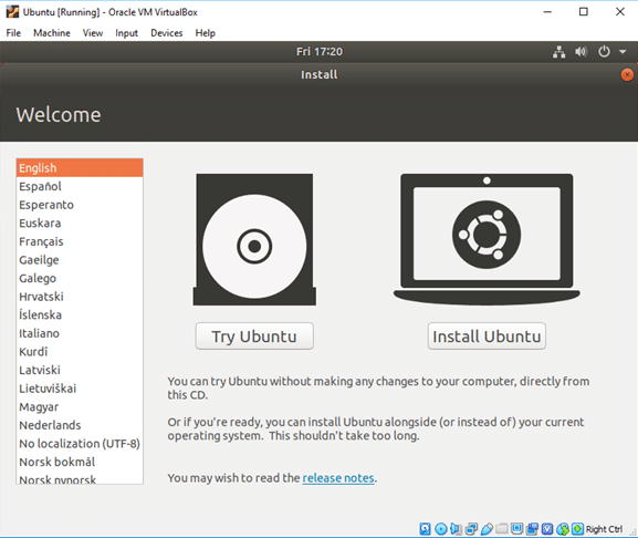 screenshot showing Ubuntu installation process