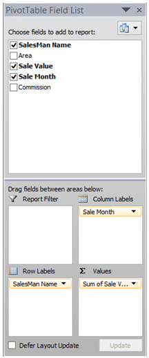 image showing pivot table field list
