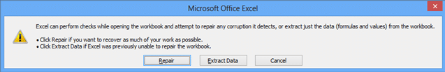 image showing Excel checks and repairs