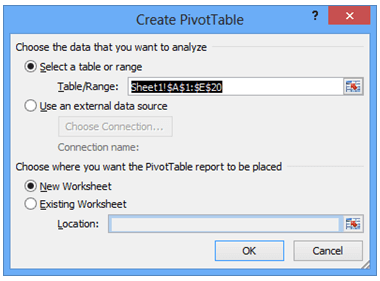 image of pivot table creation window