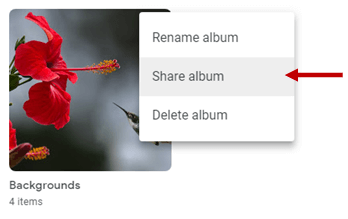 image showing option to share album
