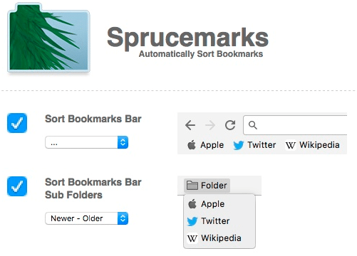 screenshot of bookmarks manager with different options