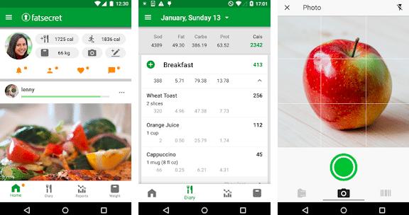 screenshots of fatSECRET mobile app