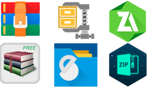 logos of various file zipper Android Apps
