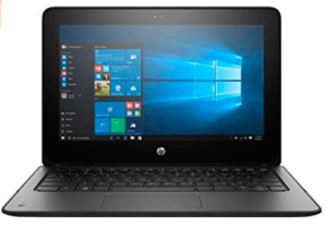 image showing HP laptop in black body