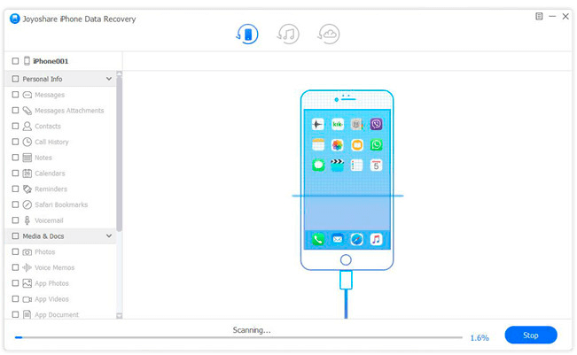 image showing software scanning iPhone