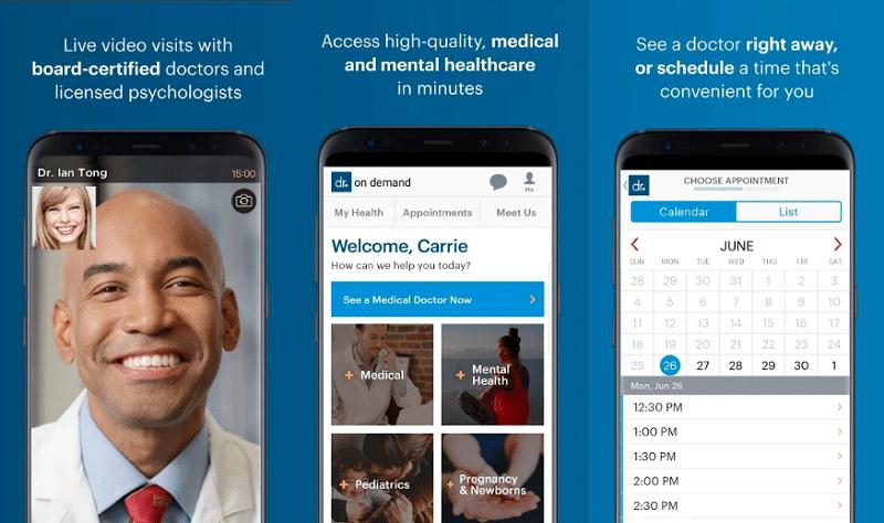 image of doctor on demand medical app