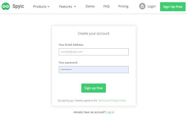 image showing sign up form