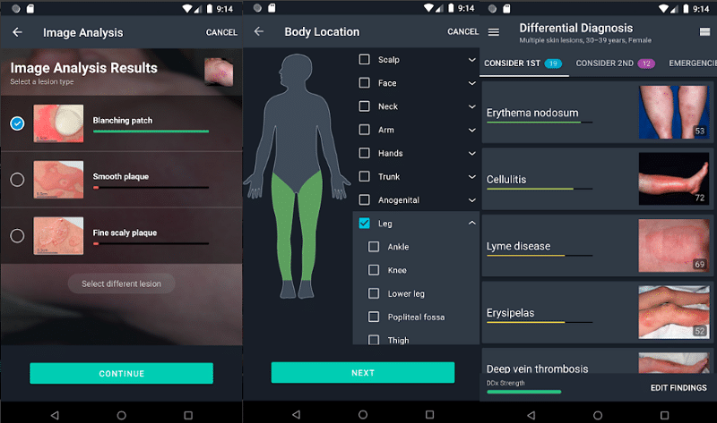 screenshots of android medical app
