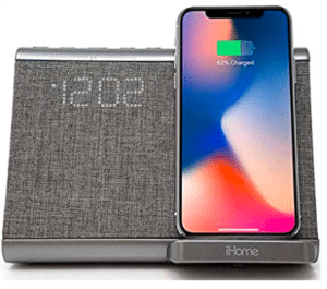 image of iHome wireless charger with slpeakers
