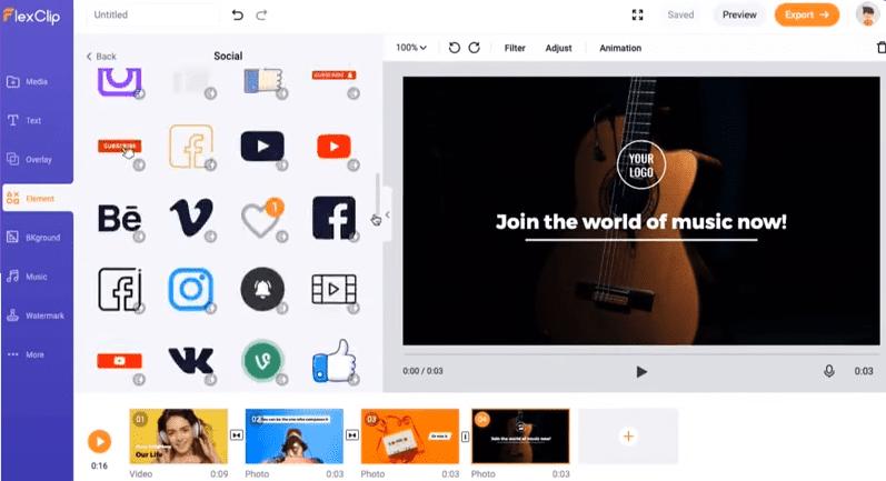 screenshot of flexclip video creater software