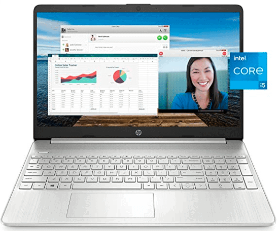 HP laptop's screen showing graph and a girl